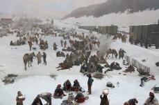 Panorama Bourbaki, Lucerne, Suisse, 26 décembre 2014, 14:07 - Toile de 10 x 112 m peinte pour commémorer l'accueil et la prise en charge d'une armée française acculée à la frontière par les Prussiens