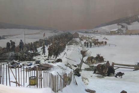 Panorama Bourbaki, Lucerne, Suisse, 26 décembre 2014, 14:08 - Toile de 10 x 112 m peinte pour commémorer l'accueil et la prise en charge d'une armée française acculée à la frontière par les Prussiens